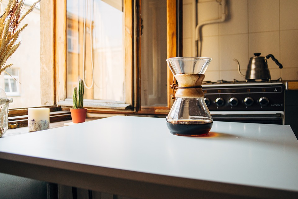 coffee on kitchen benchtop